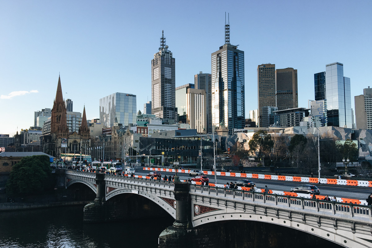 View of Princess Bridge and CBD Melbourne