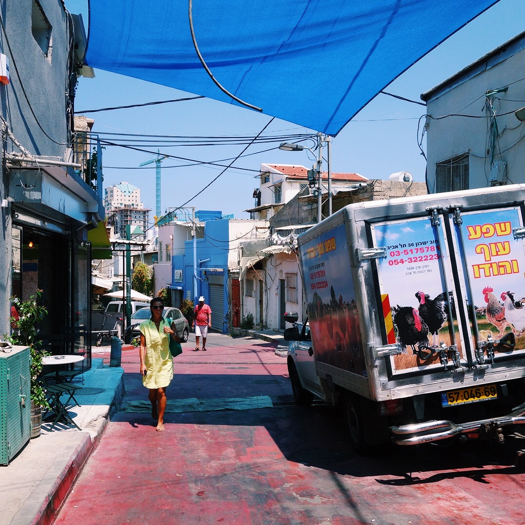 Side street of Carmel Market in Tel Aviv