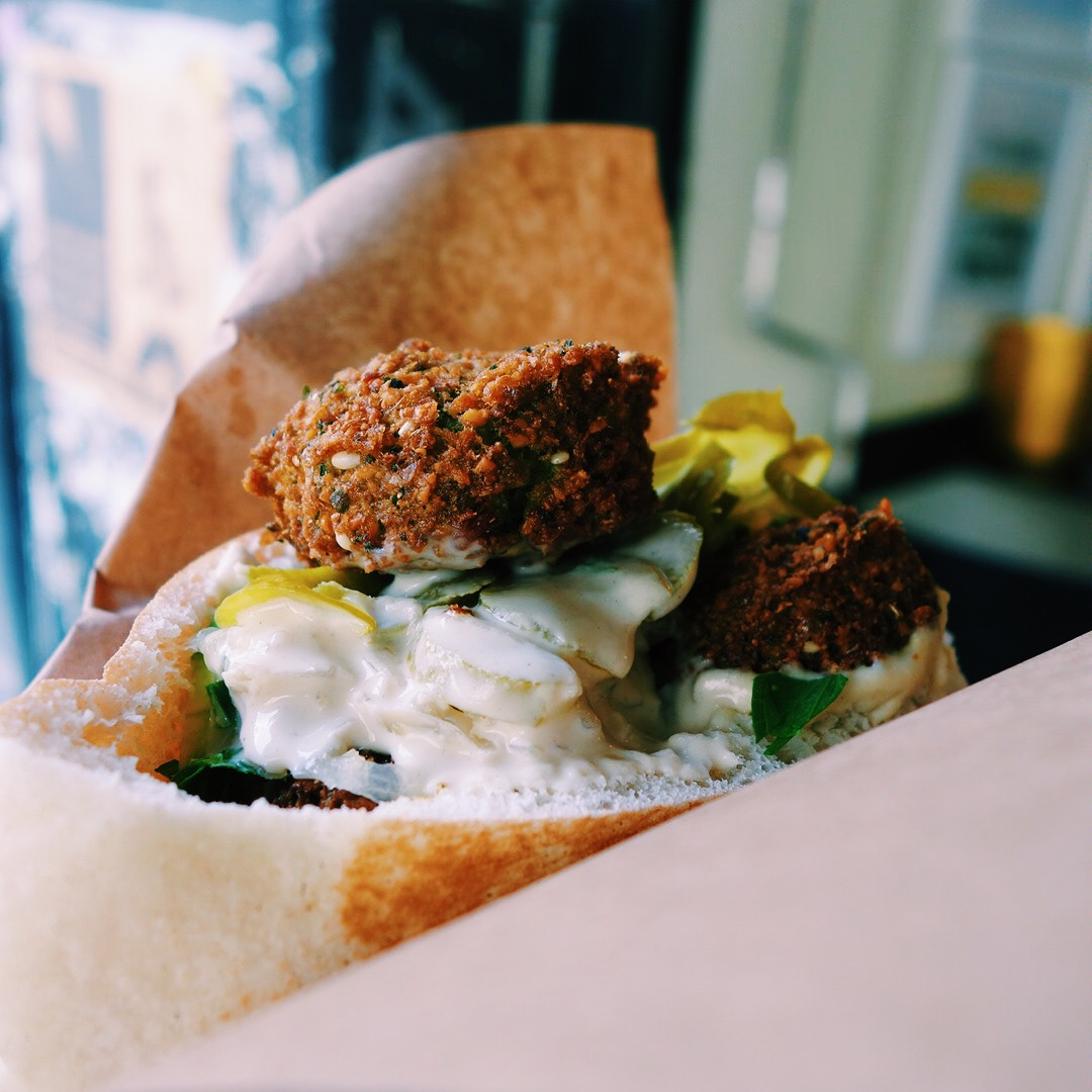 Pita bread with falafel
