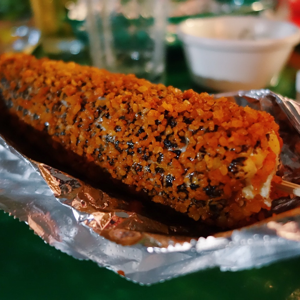 Elote, corn on a cob Mexican style