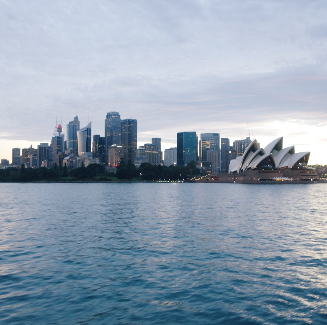View of Sydney city seen from the ferry