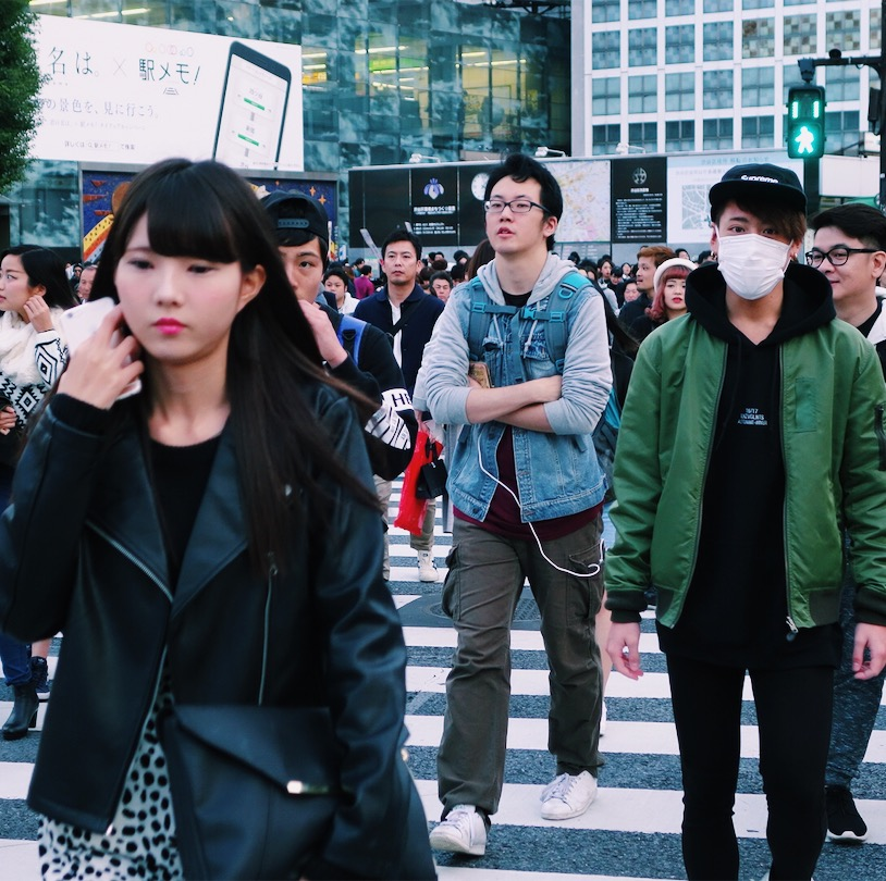 People crossing the Shibuya crossing