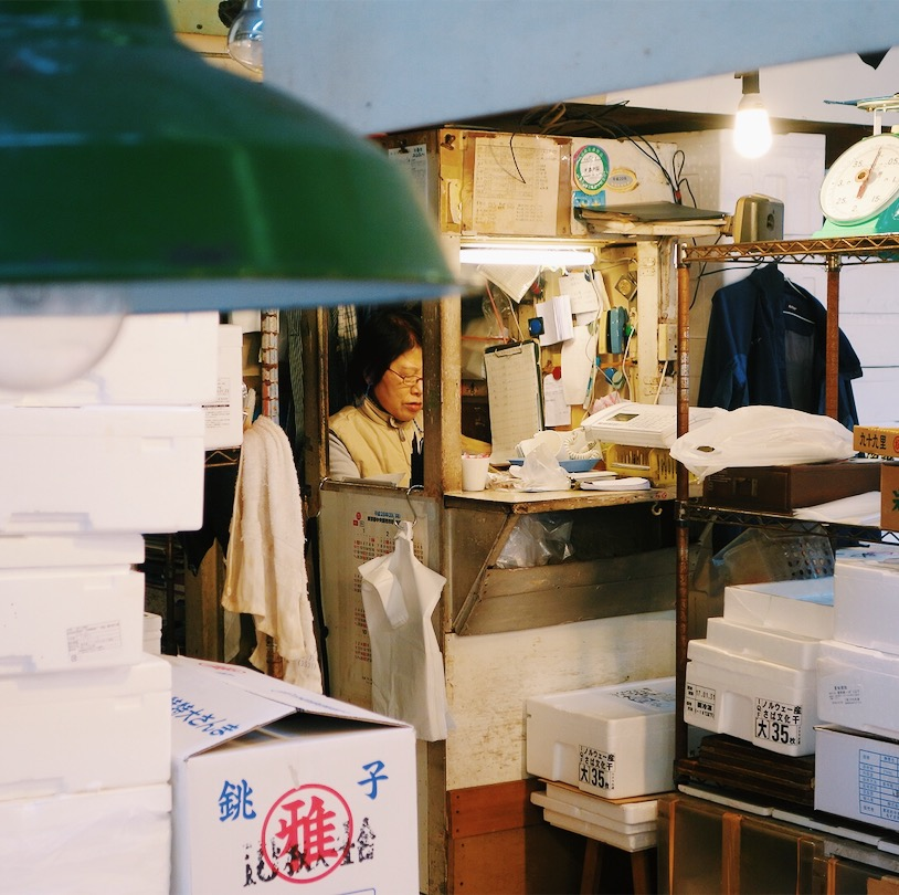 Woman getting admin sorted at Tsukiji Fish Market