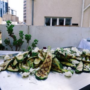 Platter of grilled zucchini and feta