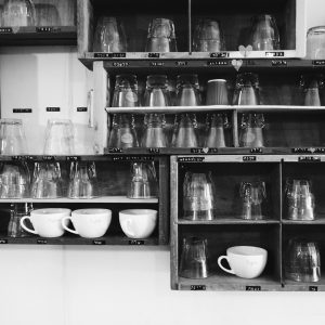 Cabinet with different coffee cups