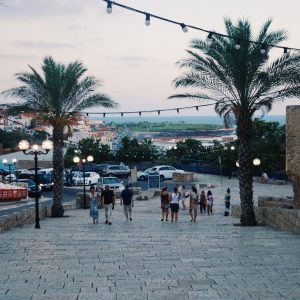 Cobblestone street in Old Jaffa with palm trees and a distant view of the sea