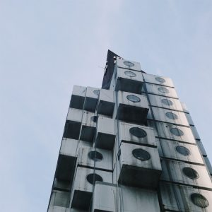 The top of the Nakagin Capsule Tower