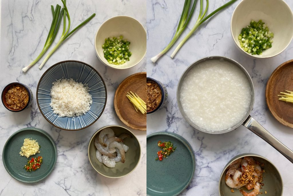 Congee ingredients and cooked congee