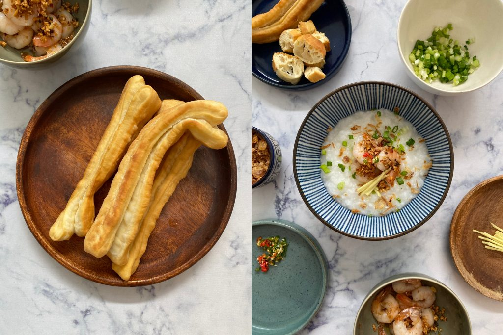 Youtiao and congee with shrimps