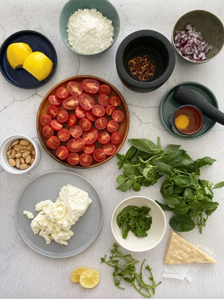 Ingredients for ricotta gnocchi